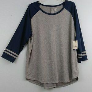 NWT Terra &Sky,sz 1X, oversized baseball jersey